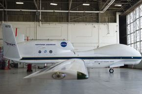 This NASA Global Hawk UAV is used for tropical storm and hurricane flyovers.