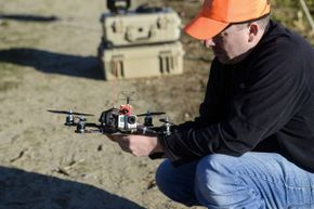 This PETA drone, which is intended to capture footage of illegal hunting, was tested at the Erwin Wilder Wildlife Management Area in Norton, Mass. in October 2013.