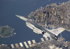 An F-16 flies a NORAD mission
