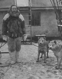 American explorer Robert Peary with sled dogs, probably on Arctic expedition in which he discovered the North Pole.