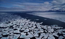 Ice floes in the Arctic look like broken glass. If this melting keeps up, the Northwest Passage could open for business.