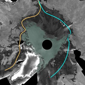 A mosaic of images from 2007 shows that the Northwest Passage (represented in orange) is open. The Northeast Passage (in blue) didn't thaw completely in 2007. The dark gray areas are ice-free, while green represents areas with sea ice.