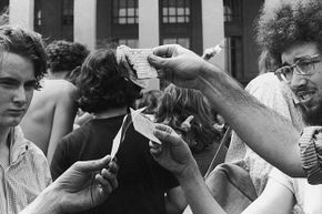 Antiwar demonstrators burn their draft cards on the steps of the Pentagon in Washington, D.C. during the Vietnam War. The Supreme Court ruled that burn a draft card is not protected speech.