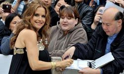 """A radiantly pregnant Kelly Preston at the """"Casino Jack"""" movie premiere."""