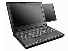 The Lenovo W700ds has a 17-inch (43.2-centimeter) primary screen and a 10-inch (25.4-centimeter) secondary screen. See more laptop pictures.
