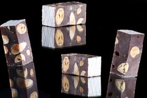Traditional nougat comes in brown and white varieties.