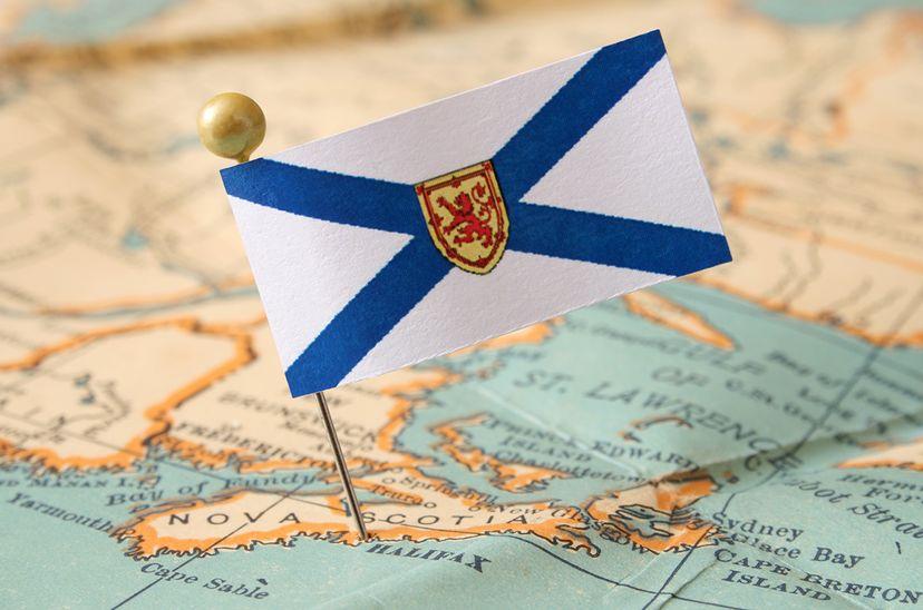 nova scotia flag pin on map