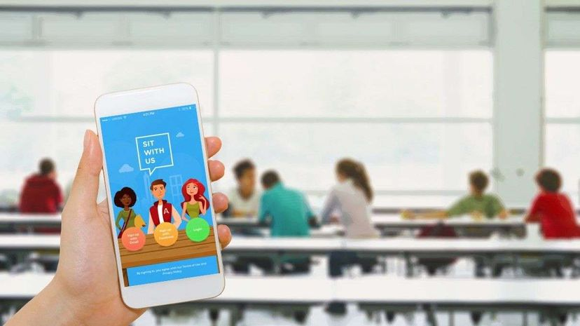 Tom Merton/Blackzheep/Getty/Sit With Us The Sit With Us app aims to deal with the awkwardness of finding a lunch table.