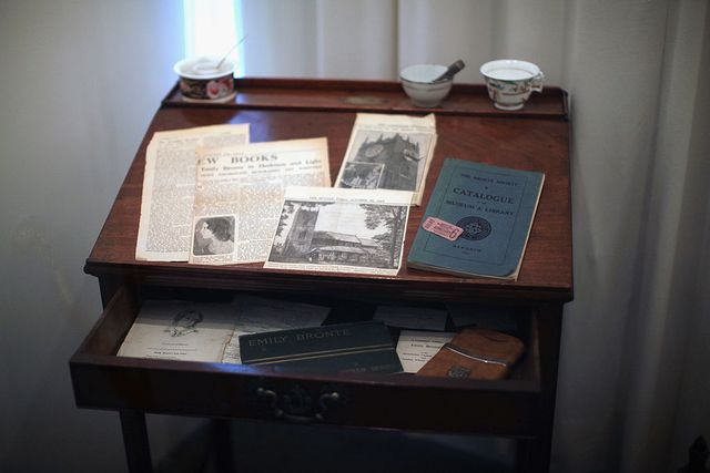 Charlotte Bronte's writing desk on display at the Bronte Parsonage Museum