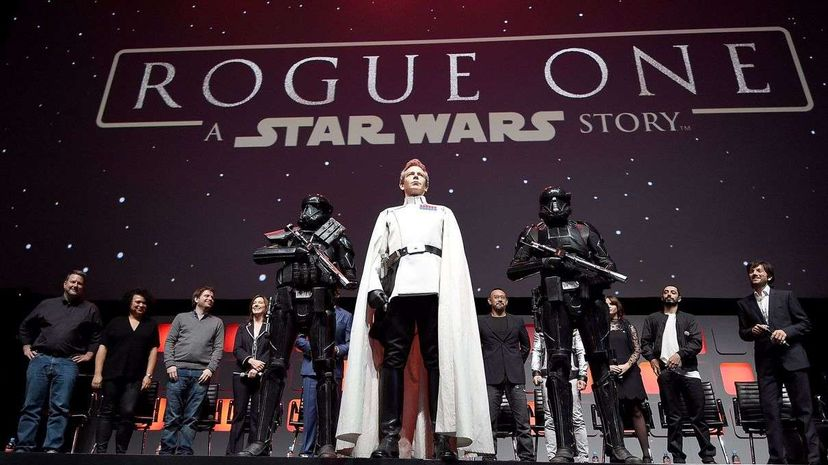 """Ben Mendelsohn takes the stage as Director Orson Krennic during the """"Rogue One"""" panel at Star Wars Celebration Europe. Ben A. Pruchnie/Getty Images for Walt Disney Studio"""