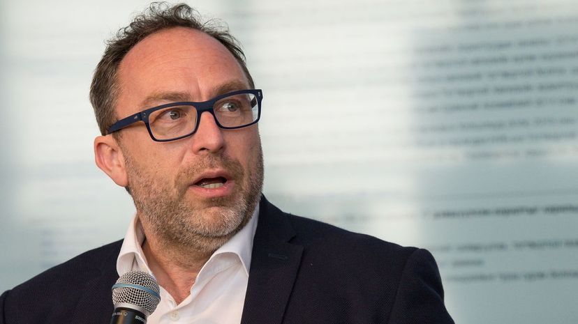 Wikipedia founder Jimmy Wales participates in a press conference in 2015. Albin Lohr-Jones/Pacific Press/LightRocket via Getty Images
