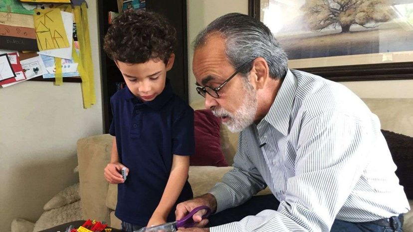Quinn Gerlach, 5, plays with his grandfather, Howard Broadman, in Laguna Niguel, California. Broadman came up with an idea of donating a kidney to a stranger today and  getting a voucher for his grandson to use some day. UCLA Health