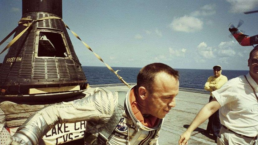 Alan Shepard is shown shortly after his splashdown in the Atlantic Ocean. His 15-minute sub-orbital flight in the Freedom 7 capsule earned him the title of first American in space. MPI/Getty Images