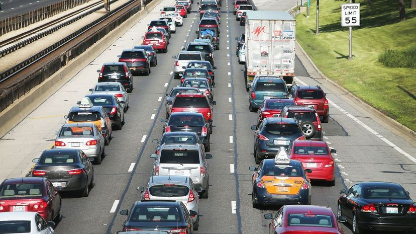 Traffic jams up on the Kennedy Expressway leaving the city for the Memorial Day weekend, 2014 in Chicago. How many folks didn't use their turn signal? Scott Olson/Getty Images