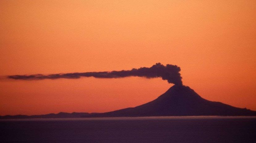 In this photo, you can see Augustine Volcano steaming. The Alaska volcano located in Cook Inlet is part of the notorious ring of fire, as is Mount Tambora, the eruption of which caused the Year Without a Summer in 1816. Chlaus Lotsche/Getty Images