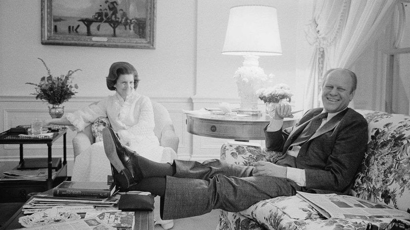 Feb. 6, 1975: President Gerald Ford and First Lady Betty Ford put their feet up in the White House's living quarters. PhotoQuest/Getty Images