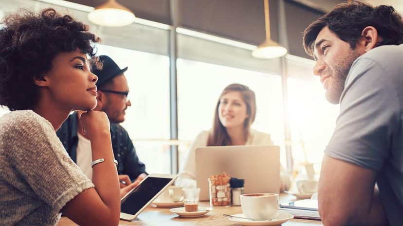 Turns out there's more than awkwardness that keeps us from staring into a person's eyes when having a conversation. Jacob Ammentorp Lund/iStock/Thinkstock