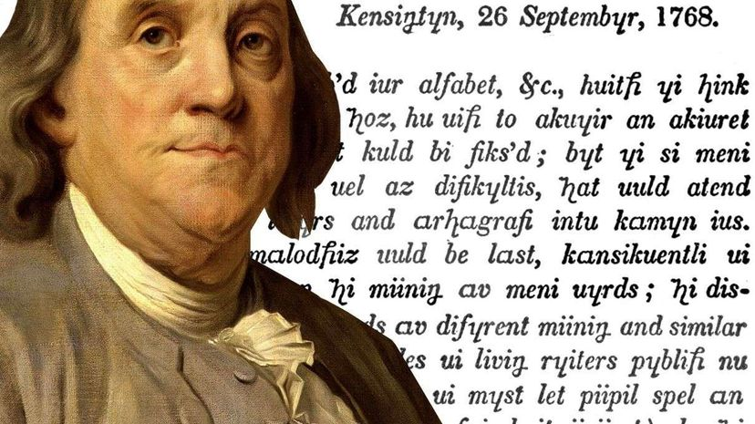 """The prolific inventor published his revised alphabet in 1779. Franklin's version kicked out six letters and added six new ones. The letter reprinted above doesn't include all of the proposed changes. Painting by Joseph Duplessis, Letter from """"The Writings of Benjamin Franklin"""" (both from Wikimedia Commons)"""