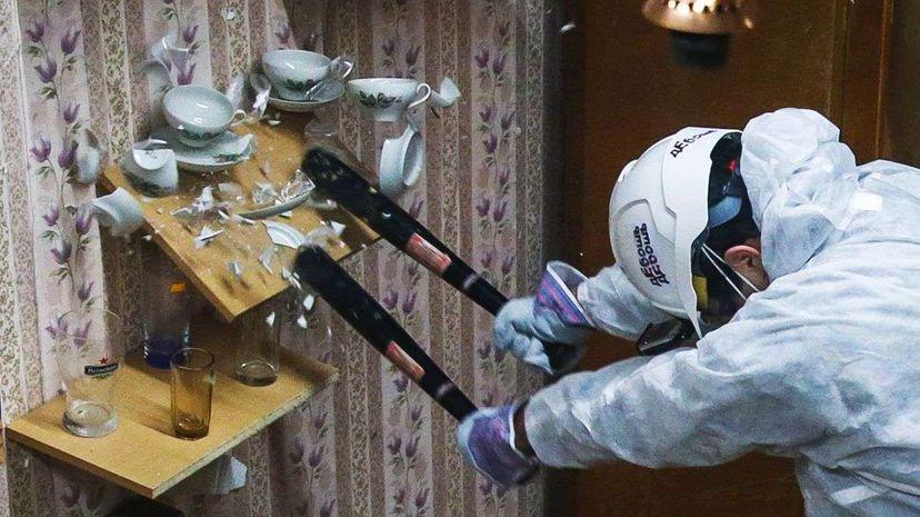 Destruction in a Russian rage room in early 2016. Artyom Geodakyan/ITAR-TASS Photo/Corbis