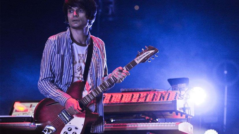 Radiohead's Jonny Greenwood performs in Austin, Texas, in 2012. Greenwood is renowned not only for being an amazing guitarist but also a tinkerer and a computer programmer who's used programming in his music. Andy Sheppard/Redferns via Getty Images