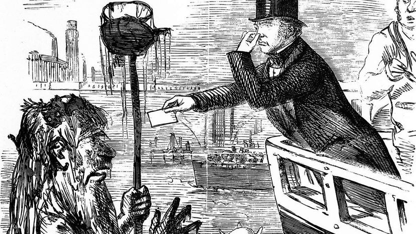 """In this classic Punch cartoon, scientist Michael Faraday gives his card to Father Thames, with the rest of the original caption reading """"And we hope the Dirty Fellow will consult the learned Professor."""" The cartoon actually published in 1855, ahead of ... Wellcome Library/London"""