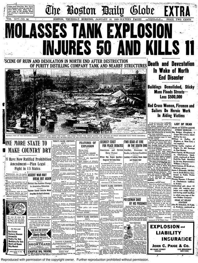 """The front page of an extra edition of """"The Boston Globe"""" following the disaster."""