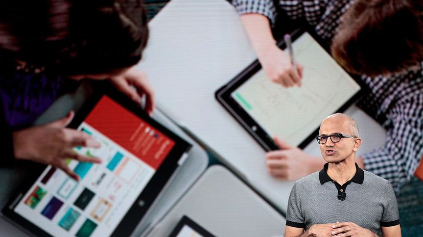 Microsoft CEO Satya Nadella speaks during a launch event for the new Microsoft Surface laptop and Windows 10 S operating system on May 2, 2017. The Windows 10 S operating system is geared toward the education market and comes with some default settings... Drew Angerer/Getty Images