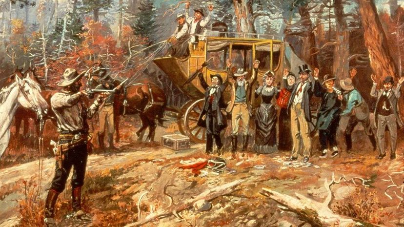"""A detail of the Charles M. Russell painting """"Big Nose George and the Road Agents."""" Jonathan Blair/Corbis/Getty Images"""