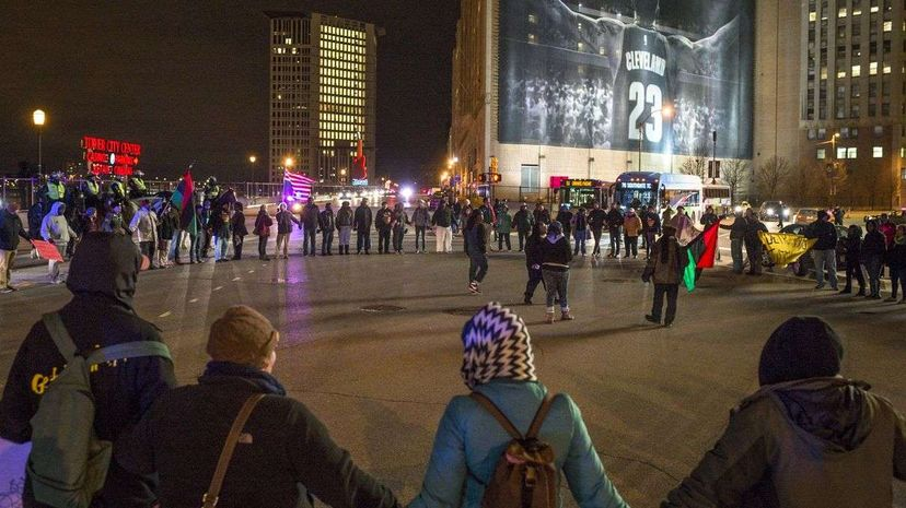 Demonstrators block traffic near the Quicken Loans Arena on Dec. 29, 2015 in Cleveland, Ohio, the day after a grand jury declined to indict Cleveland Police officer Timothy Loehmann for the fatal shooting of Tamir Rice. Angelo Merendino/Getty Images