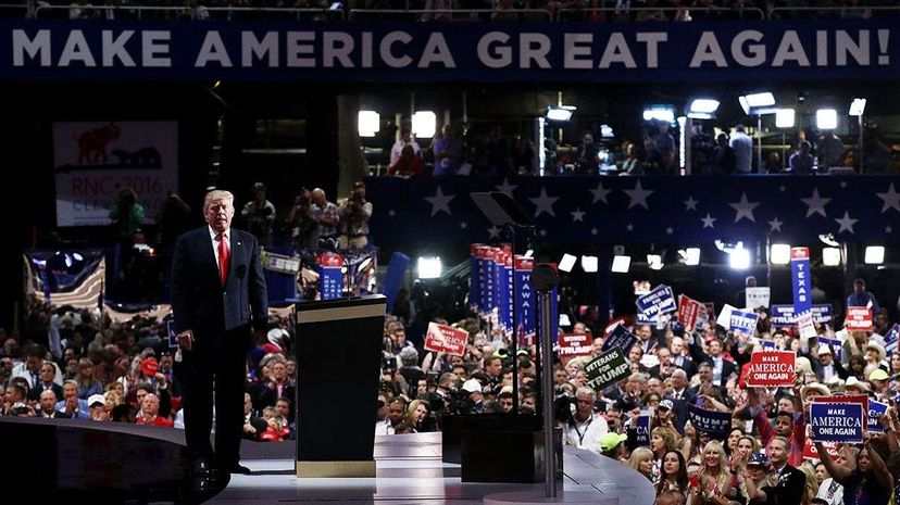 Republican presidential candidate Donald Trump pauses during his speech on the fourth day of the Republican National Convention in Cleveland. Win McNamee/Getty Images