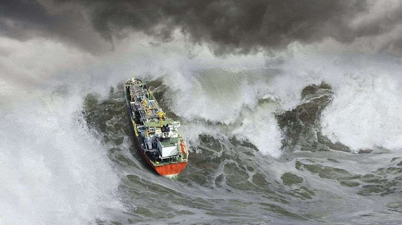 A tanker ship encounters a giant wave. John Lund/Getty Images