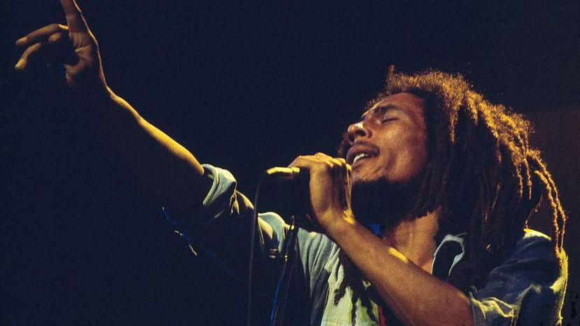 Bob Marley performs live at the Rainbow Theatre in England in 1977. Vincent McEvoy/Redferns/Getty Images