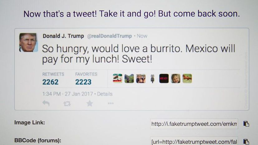 Fake Donald Trump tweets are seen in a Twitter timeline on Jan. 27, 2017. A site in China has been generating fake tweets that look as if they came from U.S. president Donald Trump and are being used to mock the president. Jaap Arriens/NurPhoto via Getty Images