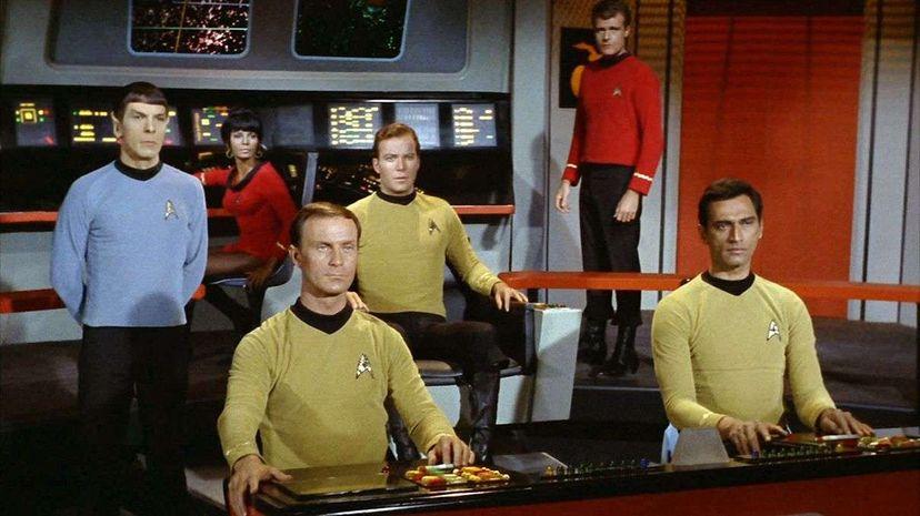 On the bridge of the starship Enterprise from left: Leonard Nimoy as Mr. Spock, Nichelle Nichols as Lieutenant Uhura, William Blackburn as Lieutenant Hadley, William Shatner as Captain James T. Kirk, Eddie Paskey as Lieutenant Leslie and unidentified a... CBS via Getty Images