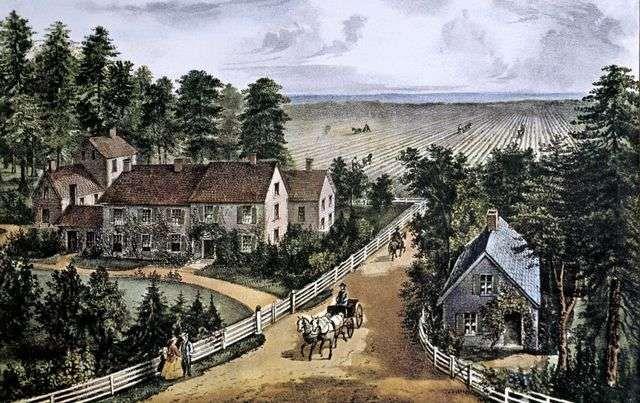 Scene from mid-19th century America