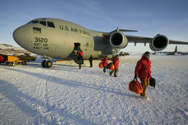 C17 with scientists at McMurdo Station, Antarctica