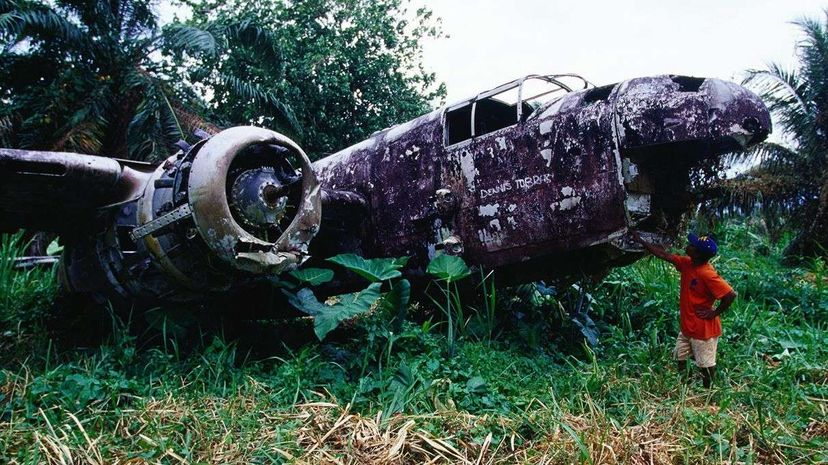 The wreckage of a plane found on the Papua New Guinea island of New Britain. Jean-Bernard Carillet/Getty Images
