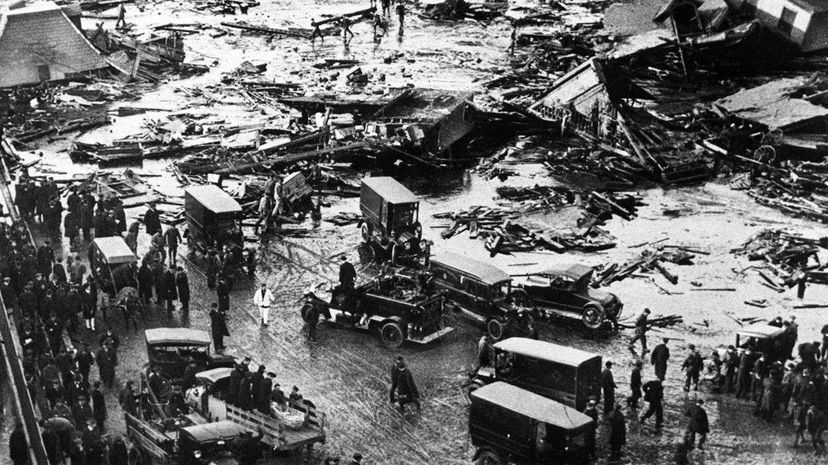 """A detail of an image printed in """"The Boston Globe"""" showing the aftermath of a disastrous 1919 industrial spill. Boston Globe/Getty Images"""