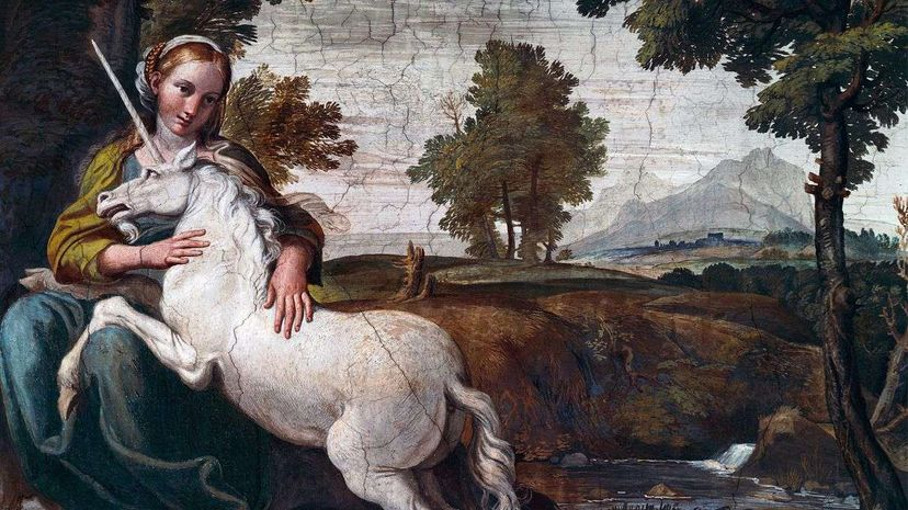 This early 17th-century fresco of a virgin with a unicorn by Domenico Zampieri is more in line with the modern unicorn we know and love. De Agostini Picture Library