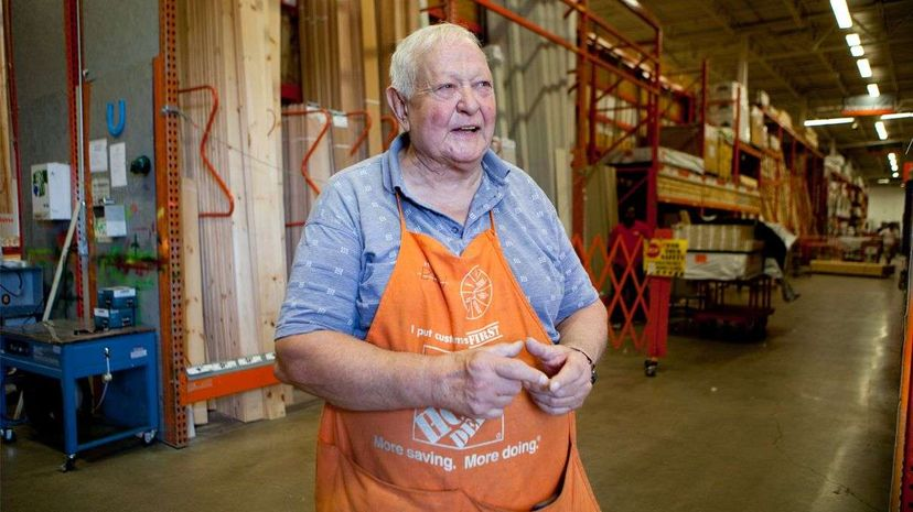 Ben Hauptman retired but came back to work for Home Depot in Boston which employs many people past retirement age. 'I retired and I just couldn't take it anymore,' he says. Melanie Stetson Freeman/The Christian Science Monitor via Getty Images