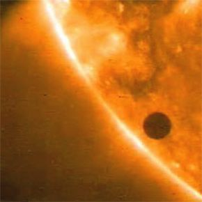 When a planet gets between its host star and Earth, as Venus is doing in this picture, the star's brightness dims. This dimming is pretty handy when it comes to planet hunting.