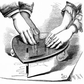 """This engraving shows a planchette from 1885. Note the pencil so the spirit could """"write"""" a message through the medium."""