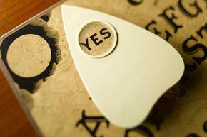 Closeup of an Ouija board.