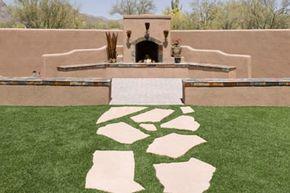Create a unique garden path with these concrete pavers.