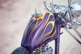 The Outlaw's paint job recalls the chopper's past.