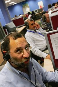 For large call-centers such as this one in Israel, it's often more cost-effective for companies to outsource.