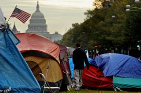 Protesters occupy in the shadow of the U.S. Capitol.