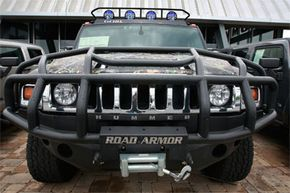 A gnarly bumper, such as this one on a Hummer off-road vehicle, makes a winch much more practical.
