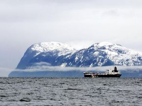 An oil tanker moves through Alaska's Prince William Sound, site of the infamous Exxon Valdez oil spill in 1989.