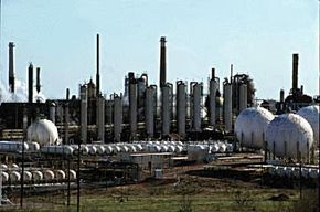 Oil refineries produce LP gases in the process of producing other, more commonly used fuels.